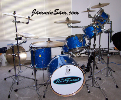 Photo of John Jones' drums with Blue Glass Glitter drum wrap (3)