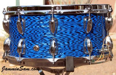 Photo of Anthony Falkner's custom drum with Vintage Blue Onyx Pearl drum wrap (45)