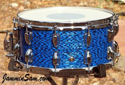 Photo of Anthony Falkner's custom drum with Vintage Blue Onyx Pearl drum wrap (55)