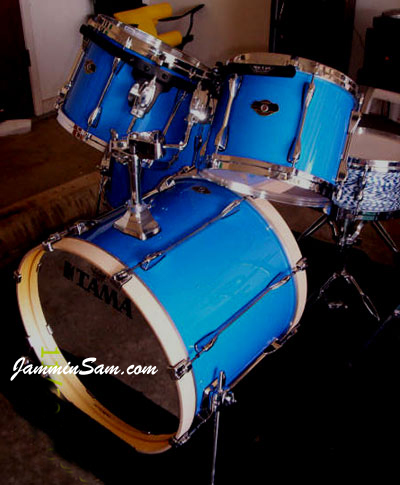 Photo of Jason Smith's Tama Superstar drumset with JS Hi Gloss Tropical Blue drum wrap