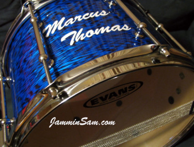 Photo of Paul Hunt's snare with Vintage Blue Onyx Pearl drum wrap (1)