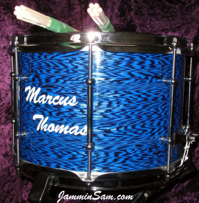 Photo of Paul Hunt's snare withVintage Blue Onyx Pearl drum wrap (2)