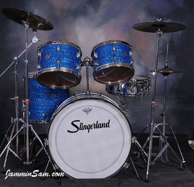 Photo of Tom Schlitter's custom drums with Vintage Blue Onyx Pearl drum wrap (97)
