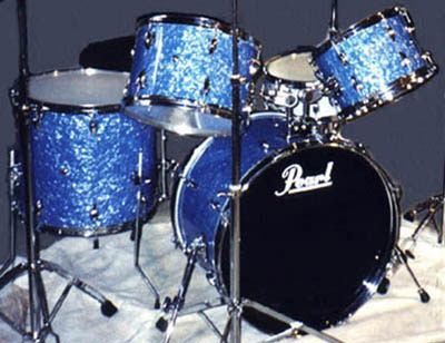 Photo of Mike Washburn's Pearl drum set with Blue Pearl (2)