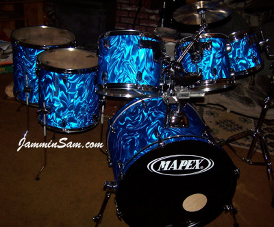 Photo of Jim Reese drum set with Blue Satin Flame drum wrap (3)