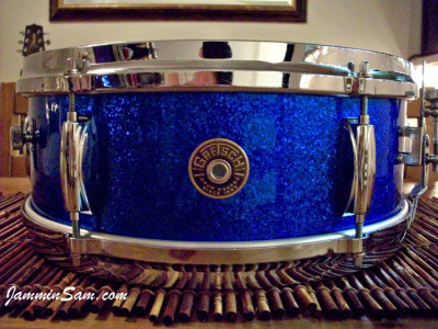 Photo of Adam Greenberg's Gretsch snare with Vintage Blue Sparkle drum wrap (1)