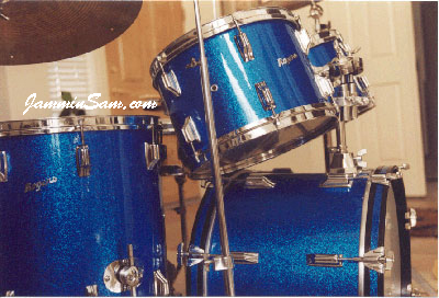 Photo of Joe Martin's Rogers drum set with Vintage Blue Sparkle drum wrap