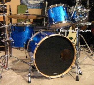 Photo of Jerry Chao's drums with Vintage Blue Sparkle drum wrap