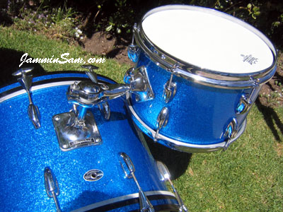 Photo of Matt North's Slingerland drum set with Vintage Blue Sparkle drum wrap (2)