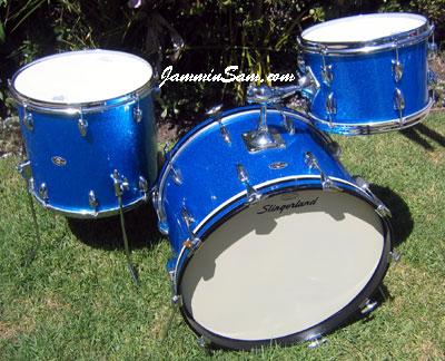 Photo of Matt North's Slingerland drum set with Vintage Blue Sparkle drum wrap