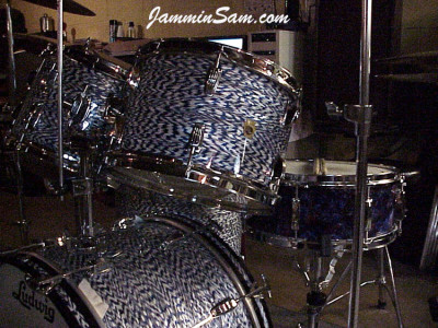 Photo of Tim Malott's Ludwig drums with Blue White Onyx Pearl drum wrap (2)