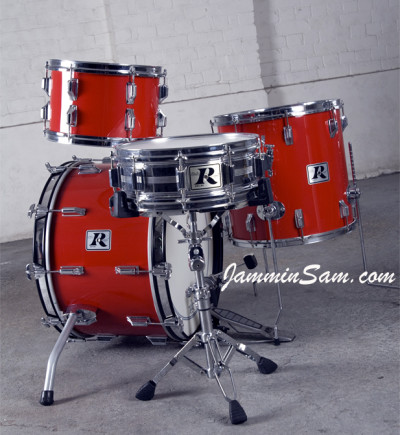 Photo of Jay Richmond's Rogers drums with JS Hi Gloss Bright Red drum wrap (2)