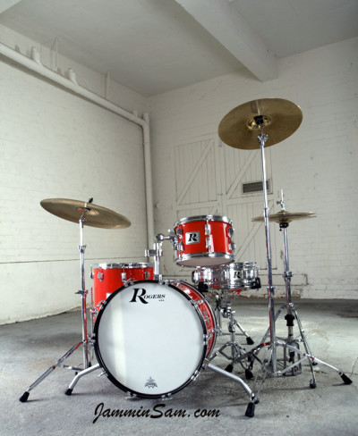 Photo of Jay Richmond's Rogers drums with JS Hi Gloss Bright Red drum wrap (3)