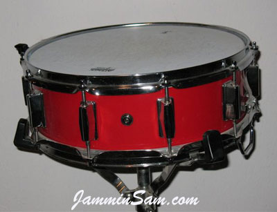 Photo of Steven Hlabse's snare drum with JS Hi Gloss Bright Red drum wrap (1)