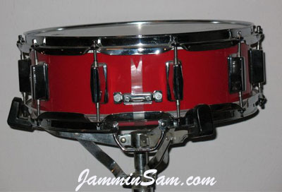 Photo of Steven Hlabse's snare drum with JS Hi Gloss Bright Red drum wrap (2)