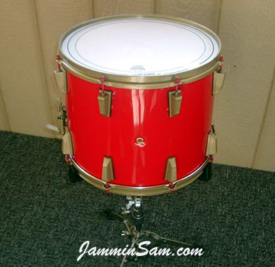 Photo of Steven Hlabse's Dewey snare drum with JS Hi Gloss Bright Red drum wrap (6)