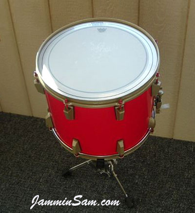 Photo of Steven Hlabse's Dewey snare drum with JS Hi Gloss Bright Red drum wrap (7)