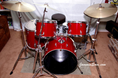 Photo of Terry Barcelona's 'almost goodwill' drums with new JS Hi Gloss Bright Red drum wrap (10)