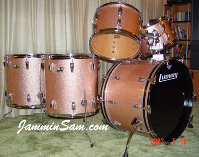 Photo of Anthony Luu's Ludwig drum set with Champagne Pink Sparkle (also known as Bermuda Sands) [1]