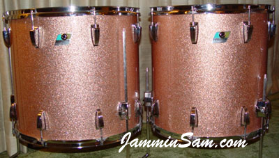 Photo of Anthony Luu's Ludwig drums with Champagne Pink Sparkle (also known as Bermuda Sands) [2]