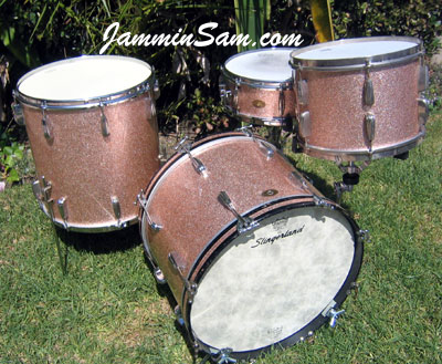 Photo of Matt North's Slingerland drums with Champagne Pink drum wrap