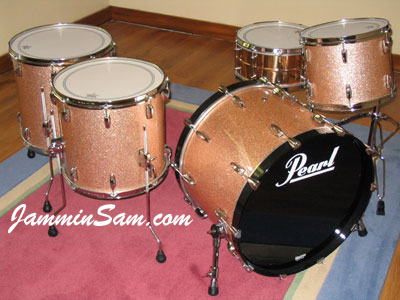 Photo of Peter S's Pearl drums with Champagne Pink drum wrap