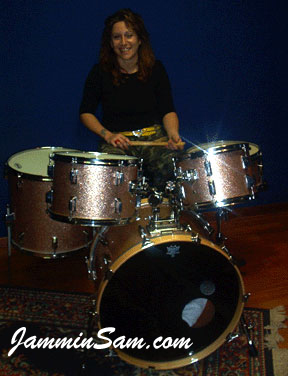 Photo of Stefano Faini's customer's drumset with Champagne Pink drum wrap