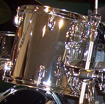 Example of Mirror Chrome drum wrap material. Also known as Metal Chrome, Bright Chrome, Chrome Nitron, Chrome Steel, Mirror Chrome or Stainless Steel.
