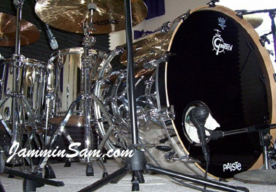 Photo of Brian Carter's Gretsch drumset with JS Mirror Chrome drum wrap