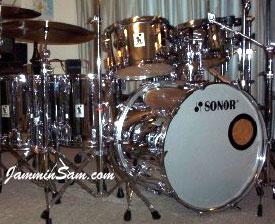 Photo of Brian Jones' Sonor drum set with Mirror Chrome drum wrap