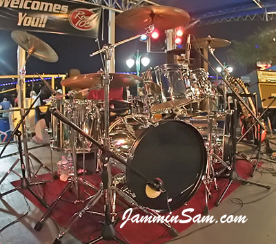 Photo of Chris Condon's Tama drumset with JS Mirror Chrome drum wrap (3)