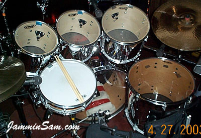 Photo of David Knights' drums with JS Mirror Chrome drum wrap