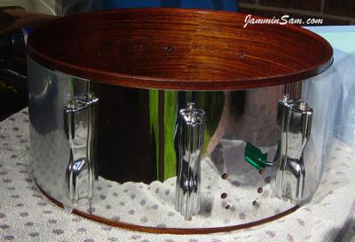 Photo of John Long's Tama/Slingerland kit with JS Mirror Chrome drum wrap (12)