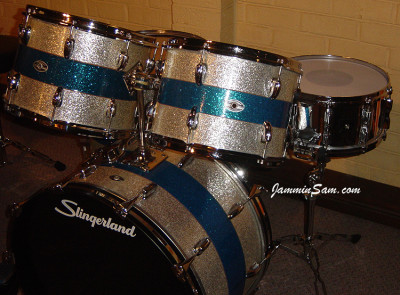 Photo of John Long's Tama/Slingerland kit with JS Mirror Chrome drum wrap (22)