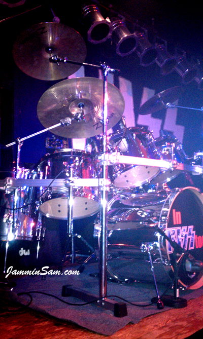 Photo of Mike Varricchio's Tama with JS Mirror Chrome drum wrap