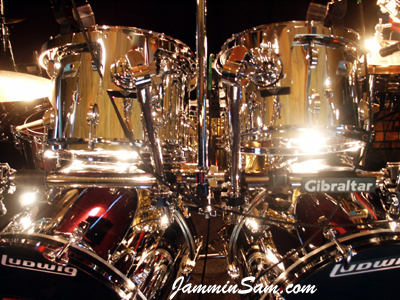 JS Mirror Chrome drum wrap on Rob King's Ludwig drums (2)