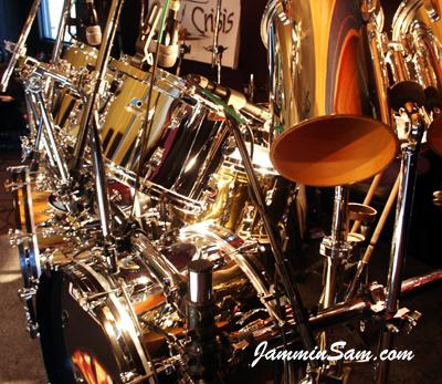 JS Mirror Chrome drum wrap on Rob King's Ludwig drum set (3)