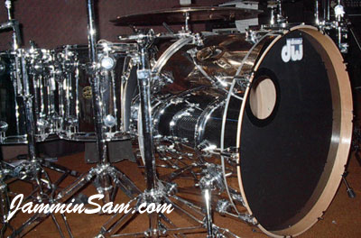 Photo of Steve Adams' DW drumset with JS Mirror Chrome drum wrap