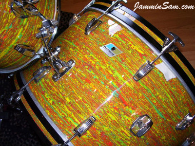 Photo of Al Young's Ludwig set with Psychedelic Citrus Mod drum wrap (1)