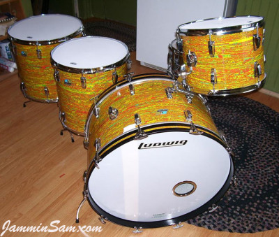 Photo of Al Young's Ludwig set with Psychedelic Citrus Mod (2)