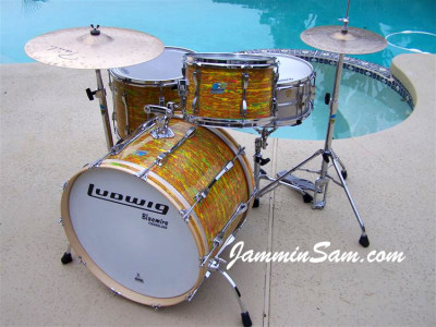 Photo of Jerry Jenkins's custom kit with Psychedelic Citrus Mod drum wrap (03)LG