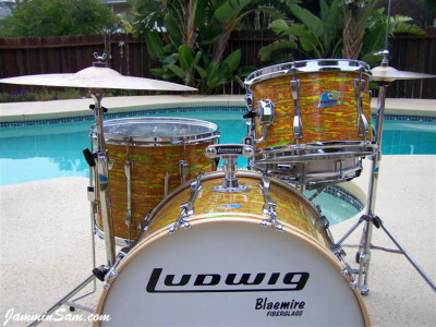 Photo of Jerry Jenkins's custom kit with Psychedelic Citrus Mod drum wrap (05)