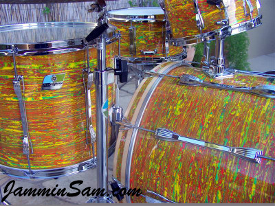 Photo of Jerry Jenkins's custom kit with Psychedelic Citrus Mod drum wrap (42)