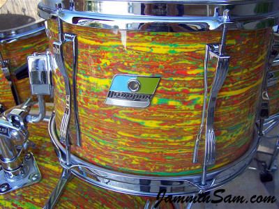 Photo of Jerry Jenkins's custom kit with Psychedelic Citrus Mod drum wrap (63)