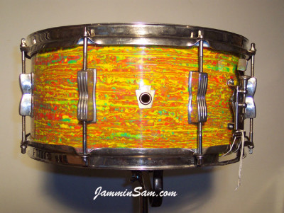 Photo of Rich Snider's WFL snare with Psychedelic Citrus Mod drum wrap