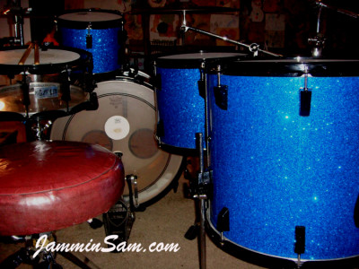 Photo of Chris Amato's Pearl drum set with Deep Blue Glass Glitter drum wrap (3)