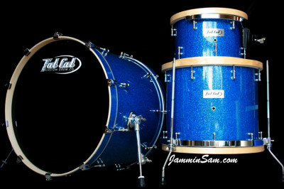 Photo of Chris Reid drums with Deep Blue Glass Glitter drum wrap (1)