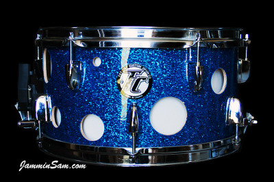 Photo of Chris Reid drums with Deep Blue Glass Glitter drum wrap (2)