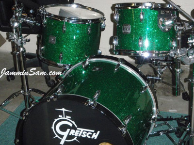 Photo of Brian DeGaetano's drums with Deep Green Glass Glitter drum wrap (3)