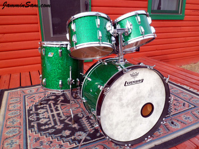 Photo of Michael Gillan's drums with Deep Green Glass Glitter drum wrap (21)